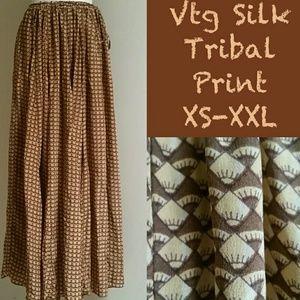 Vtg African Print Silk Skirt All Sizes